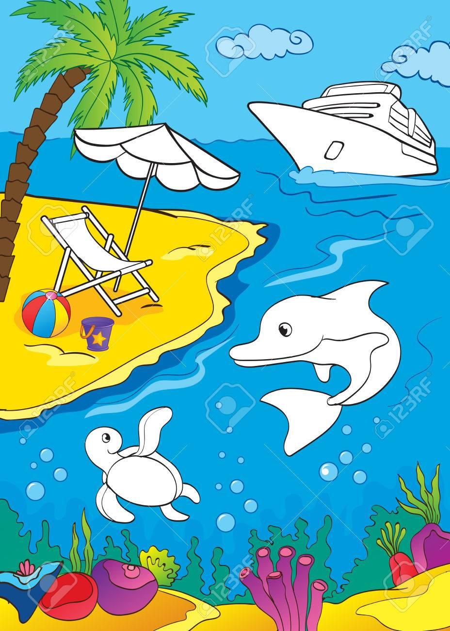 Ilustración Del Vector De La Costa Del Mar Y La Vida Marina De La Página Para Colorear Para Los Niños