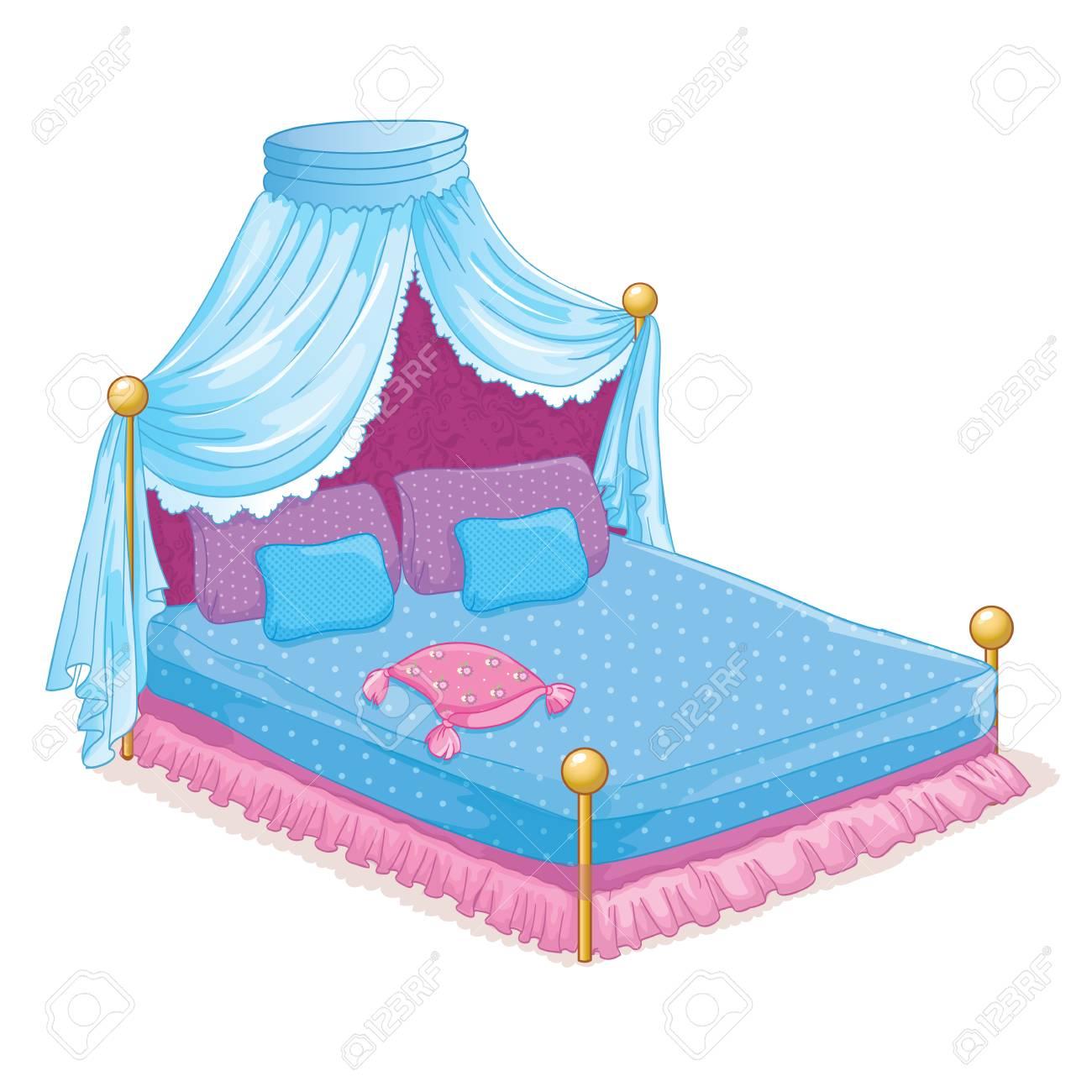 Standard Bild   Vektor Illustration Der Schönen Prinzessin Bett Mit  Baldachin
