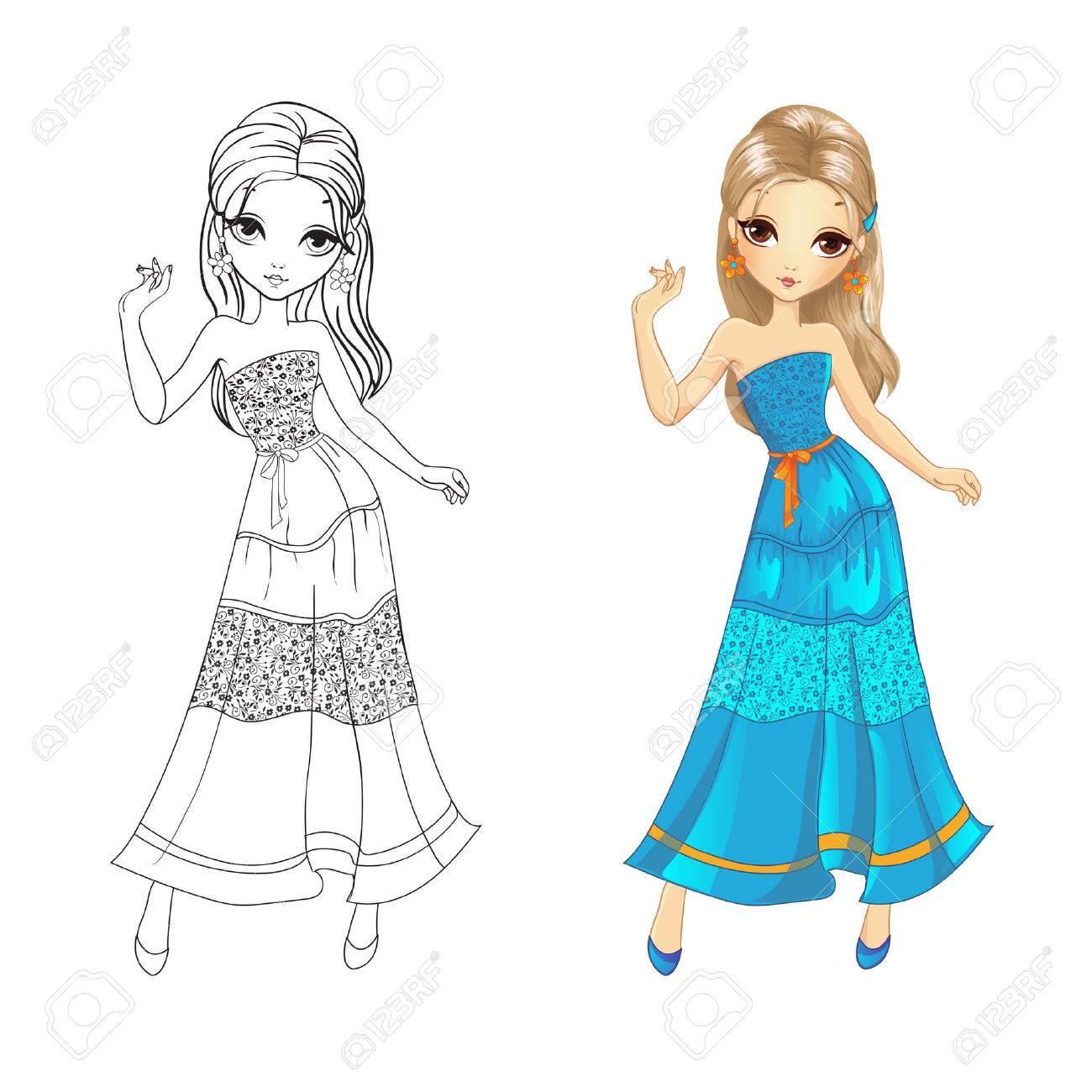 Dibujo Para Colorear Ilustración Vectorial De La Hermosa Niña Boho En Vestido De Verano Largo