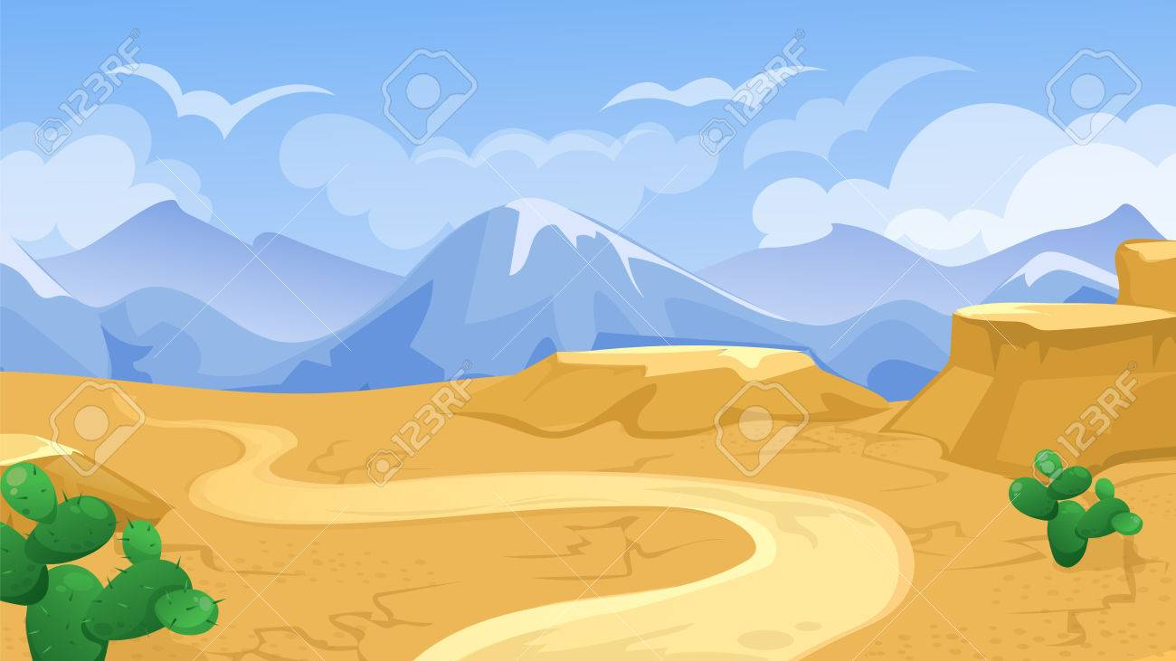 Vector Cartoon Game Background Of Desert Landscape With Road