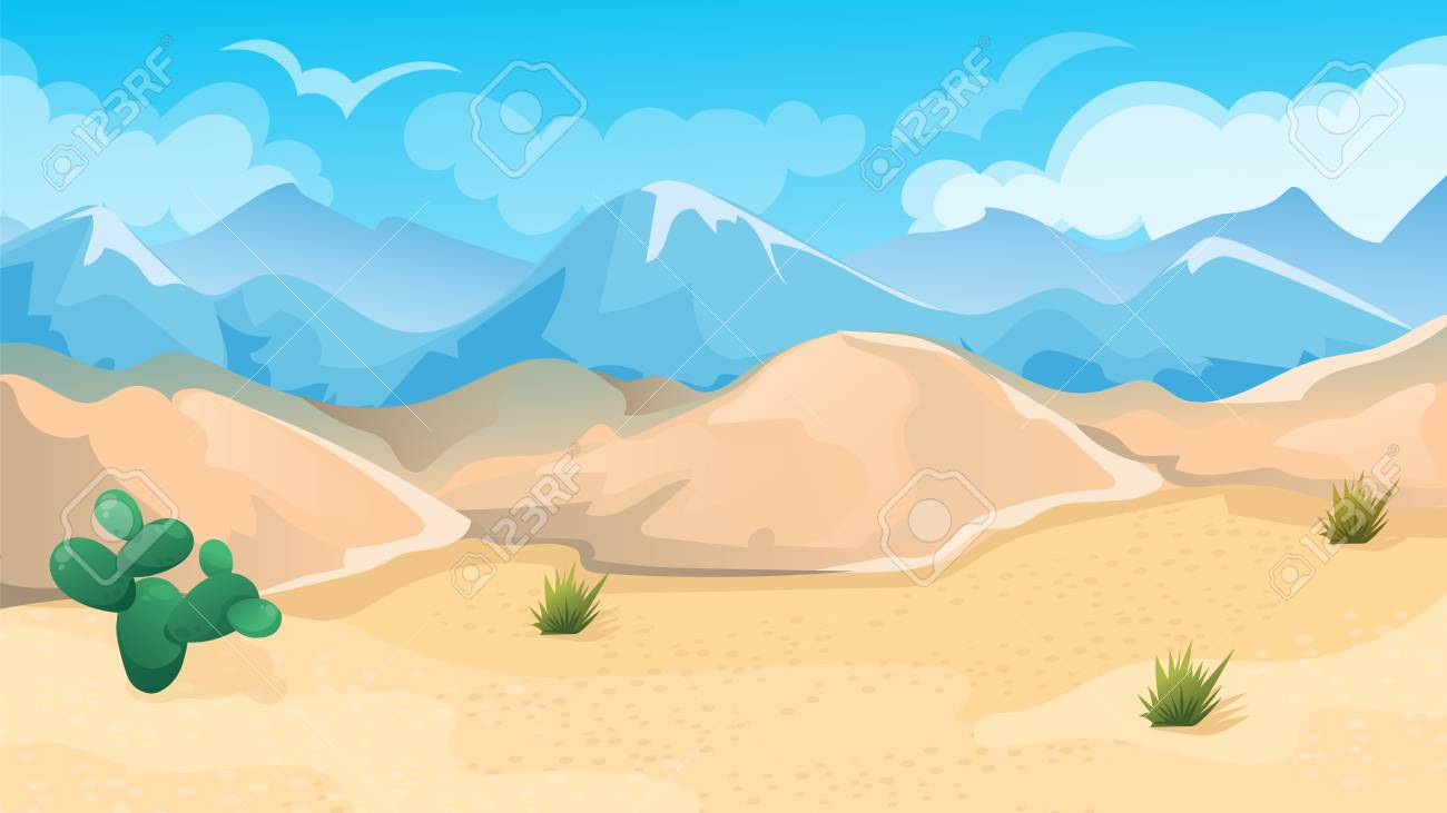 Vector Cartoon Game Background Of Desert And Hills Landscape Royalty
