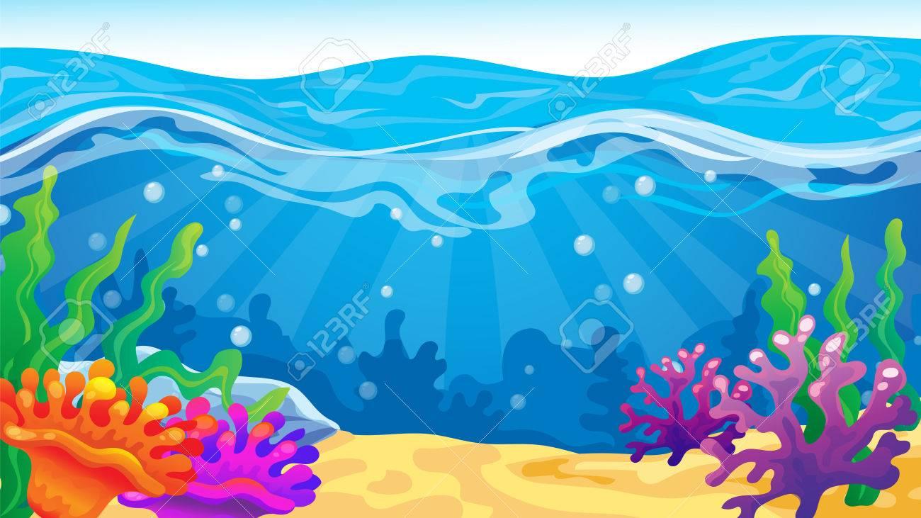 Vecteur Jeu De Dessin Anime Fond De Paysage Marin Avec Des Coraux Clip Art Libres De Droits Vecteurs Et Illustration Image 68493648