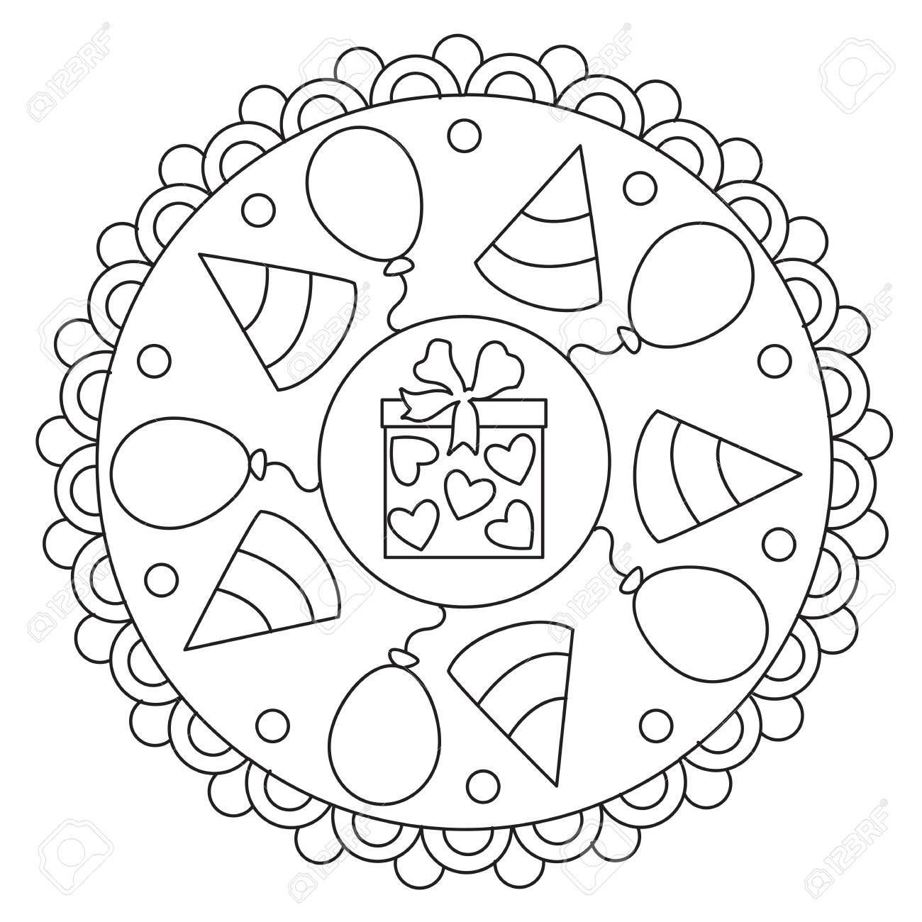 Vector coloring simple mandala round ornament of celebration