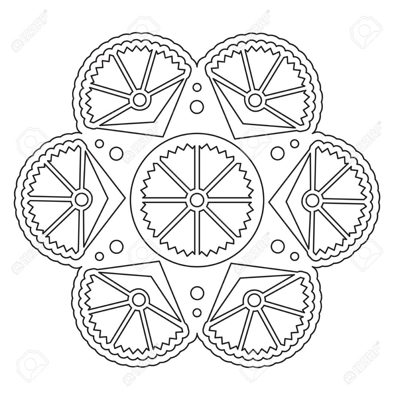 Vector Färbung Einfache Mandala Runde Blumenverzierung Für Kinder ...