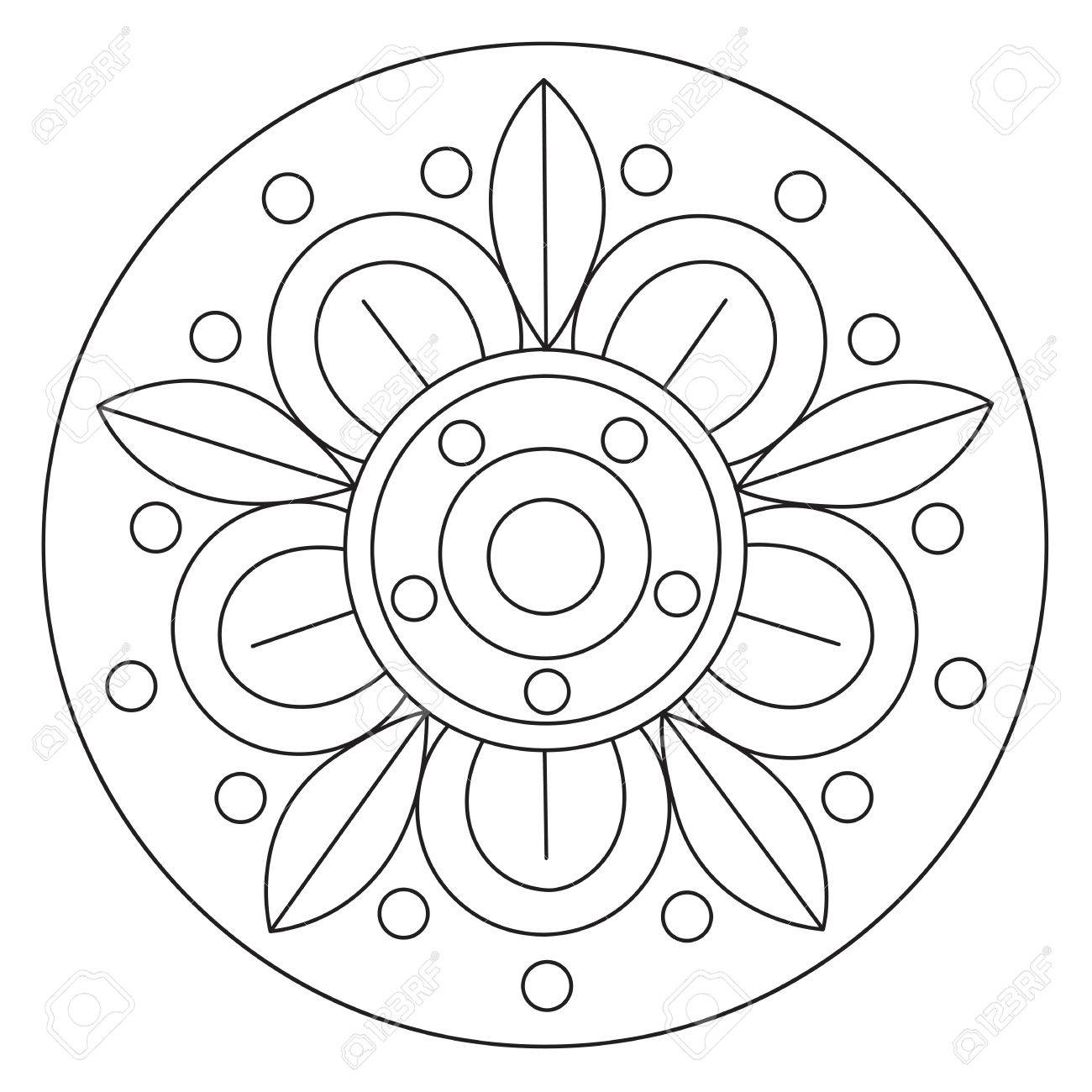 Colorear Vector Grande Simple Mandala De La Flor Para Los Niños