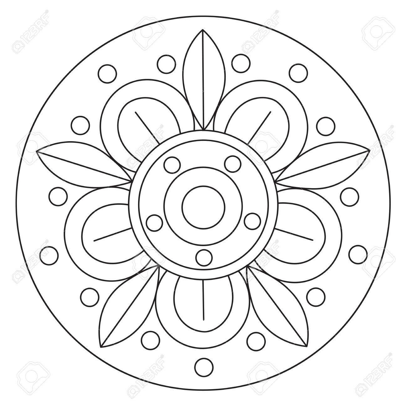 Vector Färbung Einfache Große Blumen-Mandala Für Kinder Lizenzfrei ...