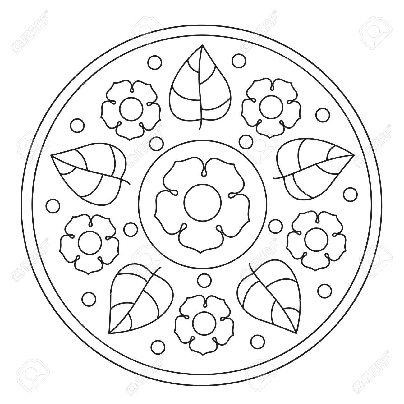 Vecteur à Colorier Des Fleurs Simples Et Feuille Ronde Mandala Pour Les Enfants