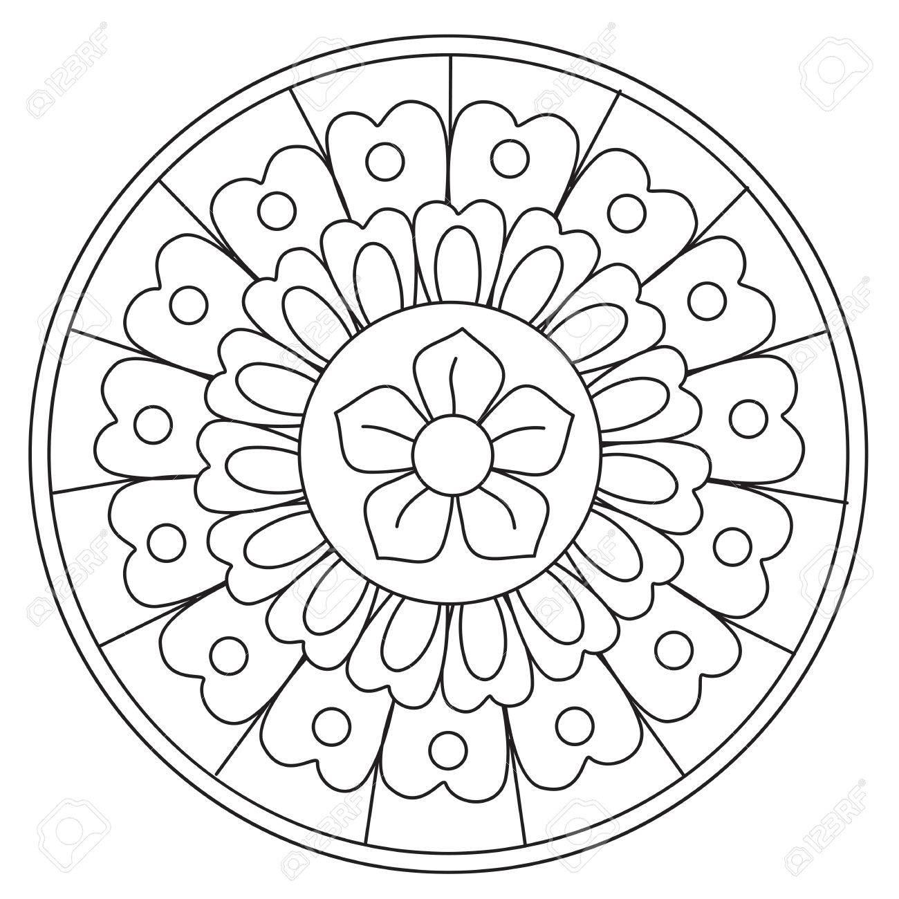 Coloriage Mandala Rond.Coloriage De Vecteur Simple Beaute Floral Mandala Rond Pour Les