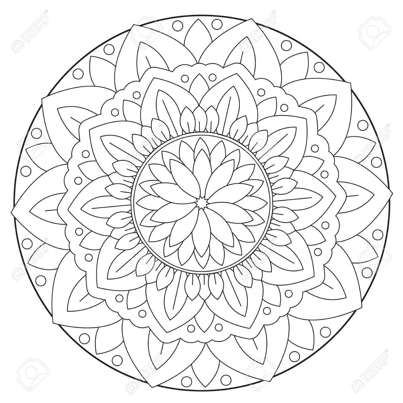 Vector Färbung Blatt Runde Mandala Für Kinder Lizenzfrei Nutzbare ...
