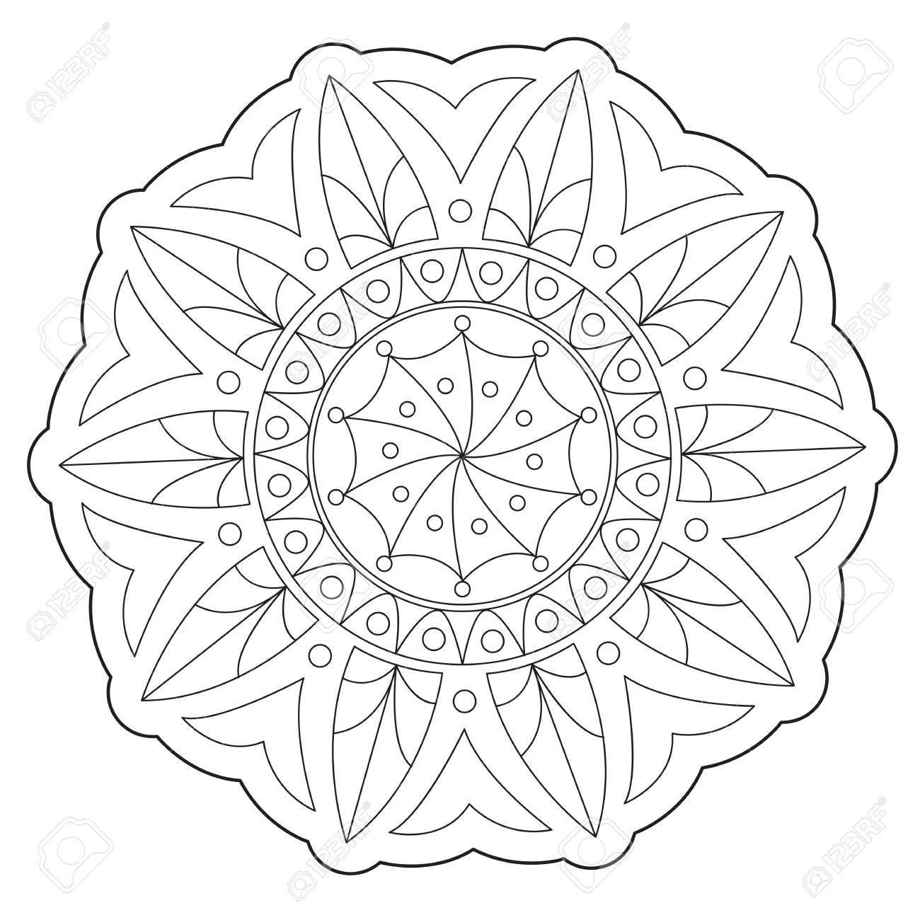 Vector De Arte Para Colorear Mandala Geométrica Ornamento Redondo ...