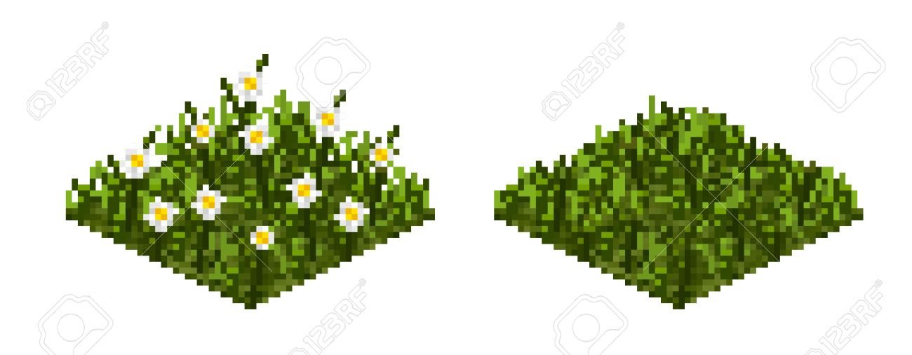 Isolated vector grass tile in pixel art style for game art background,