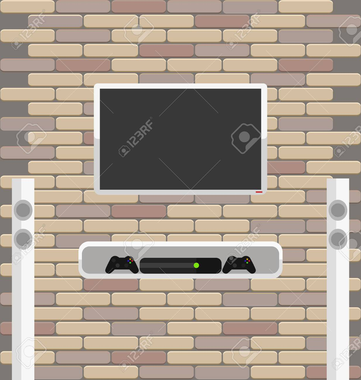 Vector Brick Wall With Lcd Screen And Game Console On The Shelf  # Decoration Facade Tv Plasma