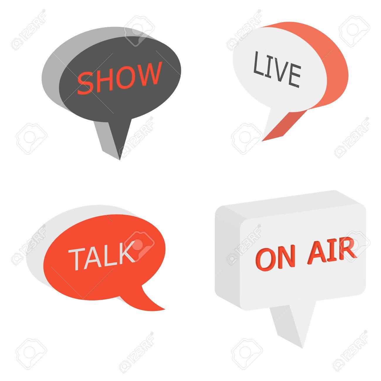 On Air Sign Talk Show Symbol Live Cast 3d Vector Bubbles Isometry