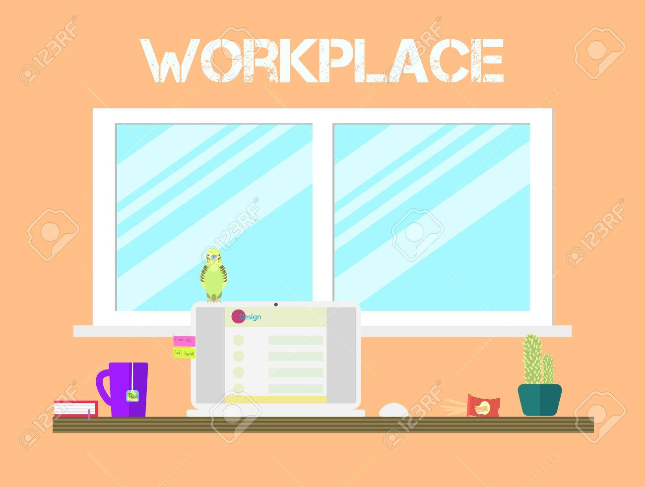 flat workspace home office. flat style workspace icons design workplace and home office desk with big window tea i
