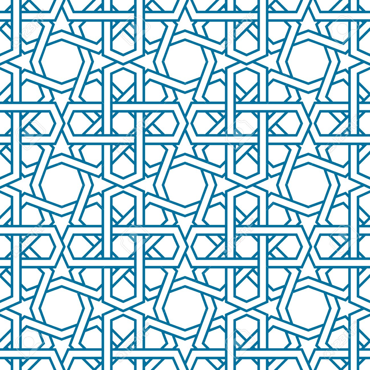 Islamic Pattern Vector. Seamless Traditional Eastern Style. Blue Line Muslim  Ornament On White.