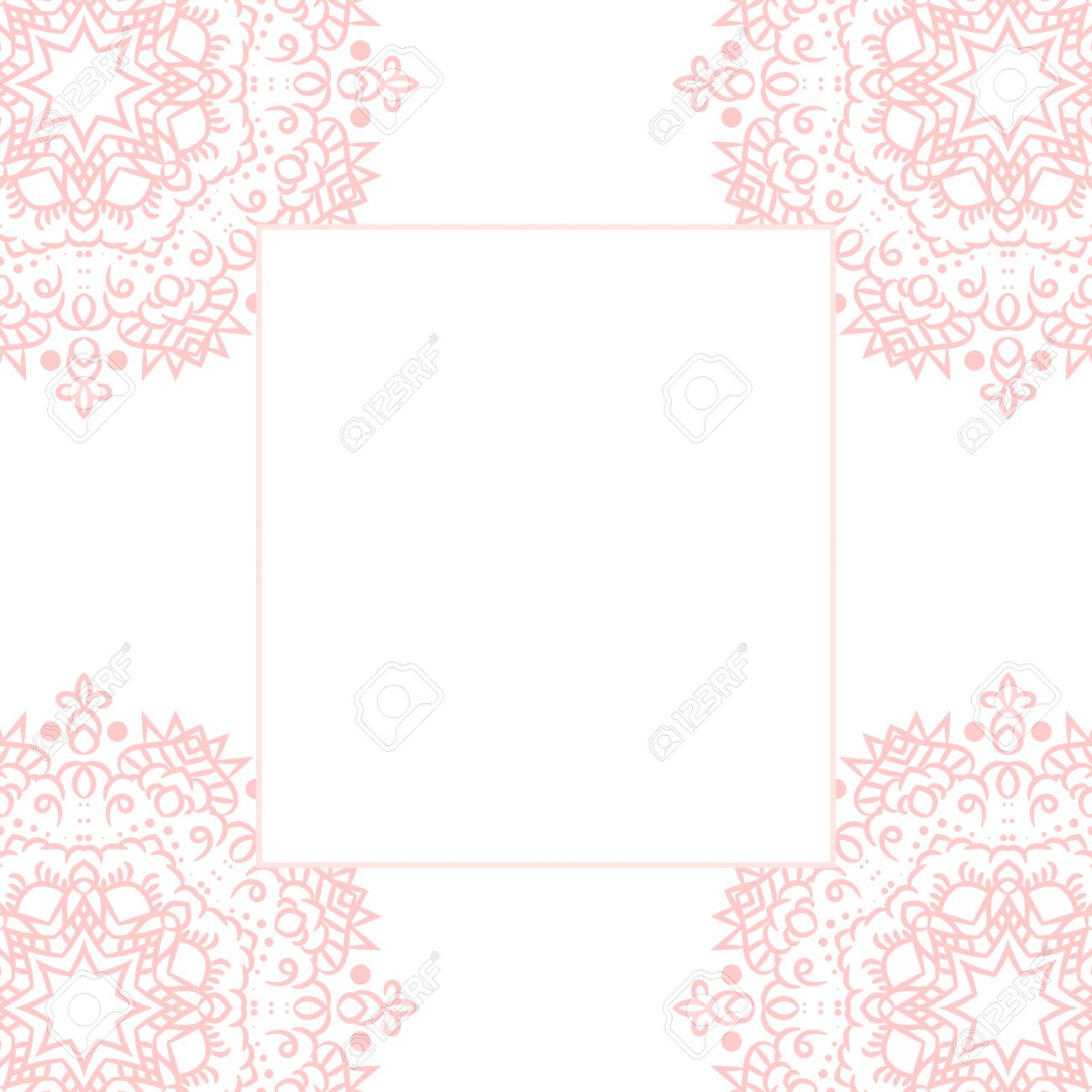 Baby Pink Mandala Card Template Background Wedding Invitation