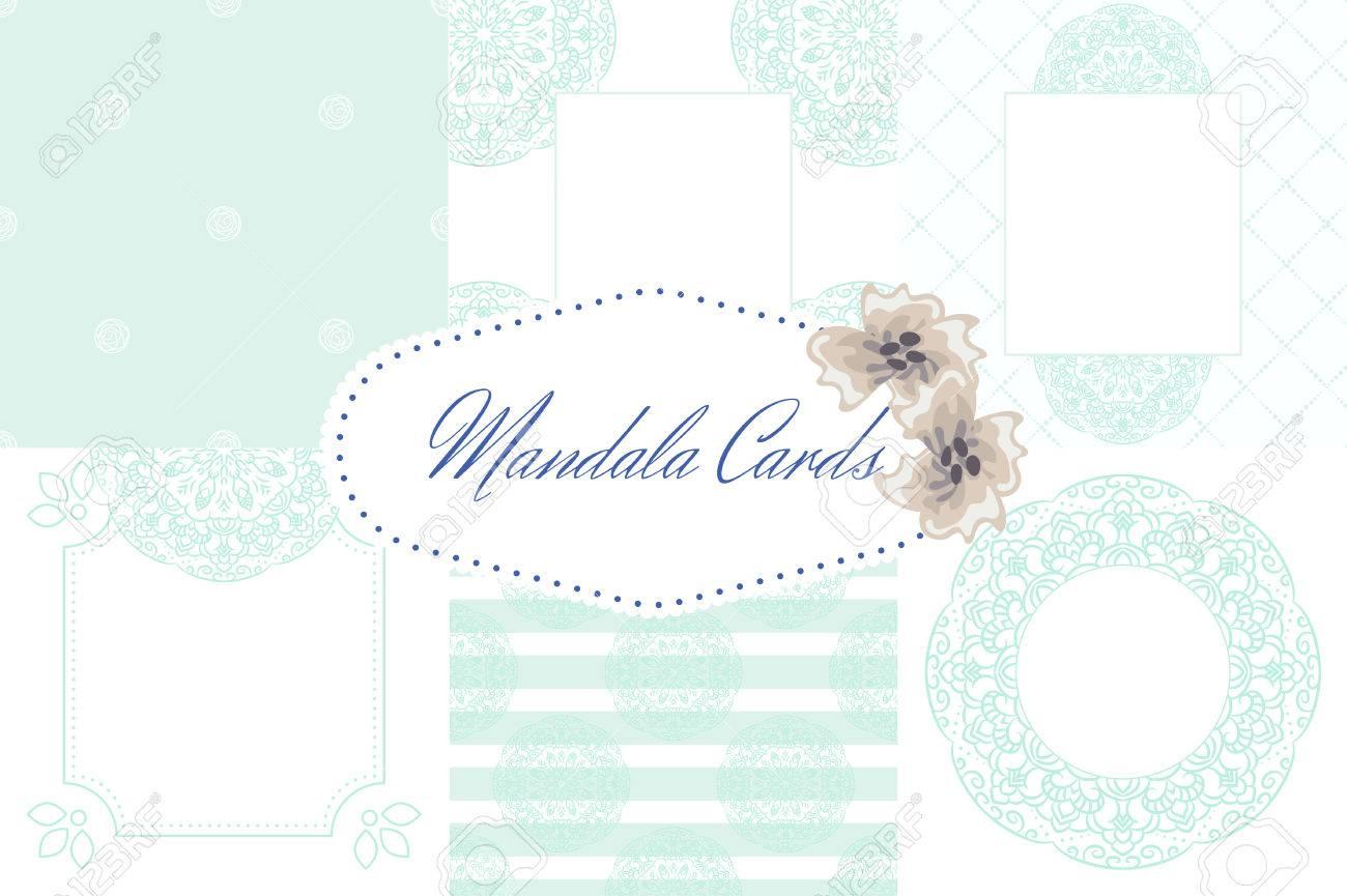 Light Blue Mandala Card Template Set Background. Wedding Invitation ...