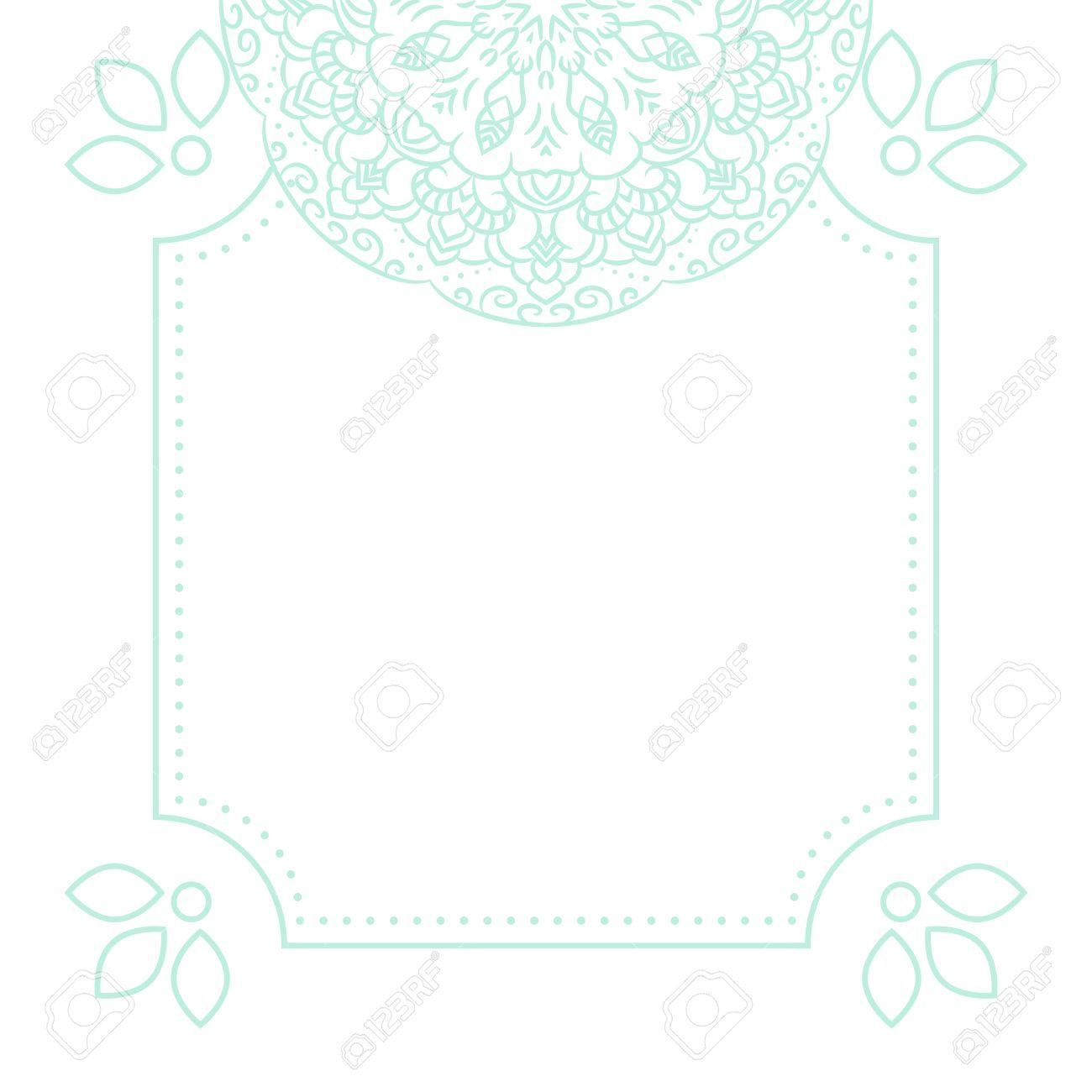Light Blue Mandala Card Template Background. Wedding Invitation ...