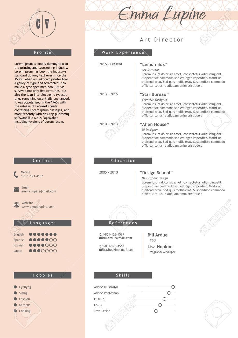 vestor kreative lebenslauf vorlage minimalistic rosa und weien stil cv licht infografik elemente - Lebenslauf Bildgrose