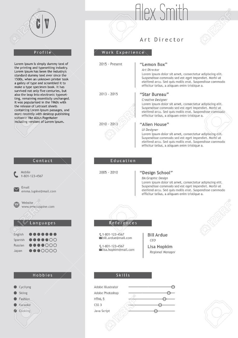 vestor resume template minimalist grey and white style cv light