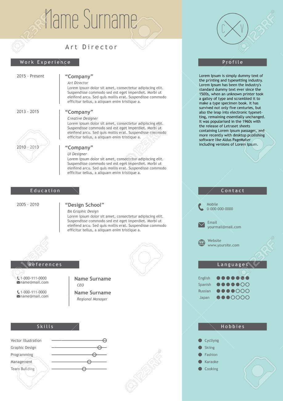 Vector Creative Resume Template. Minimalistic Blue And Beige ...