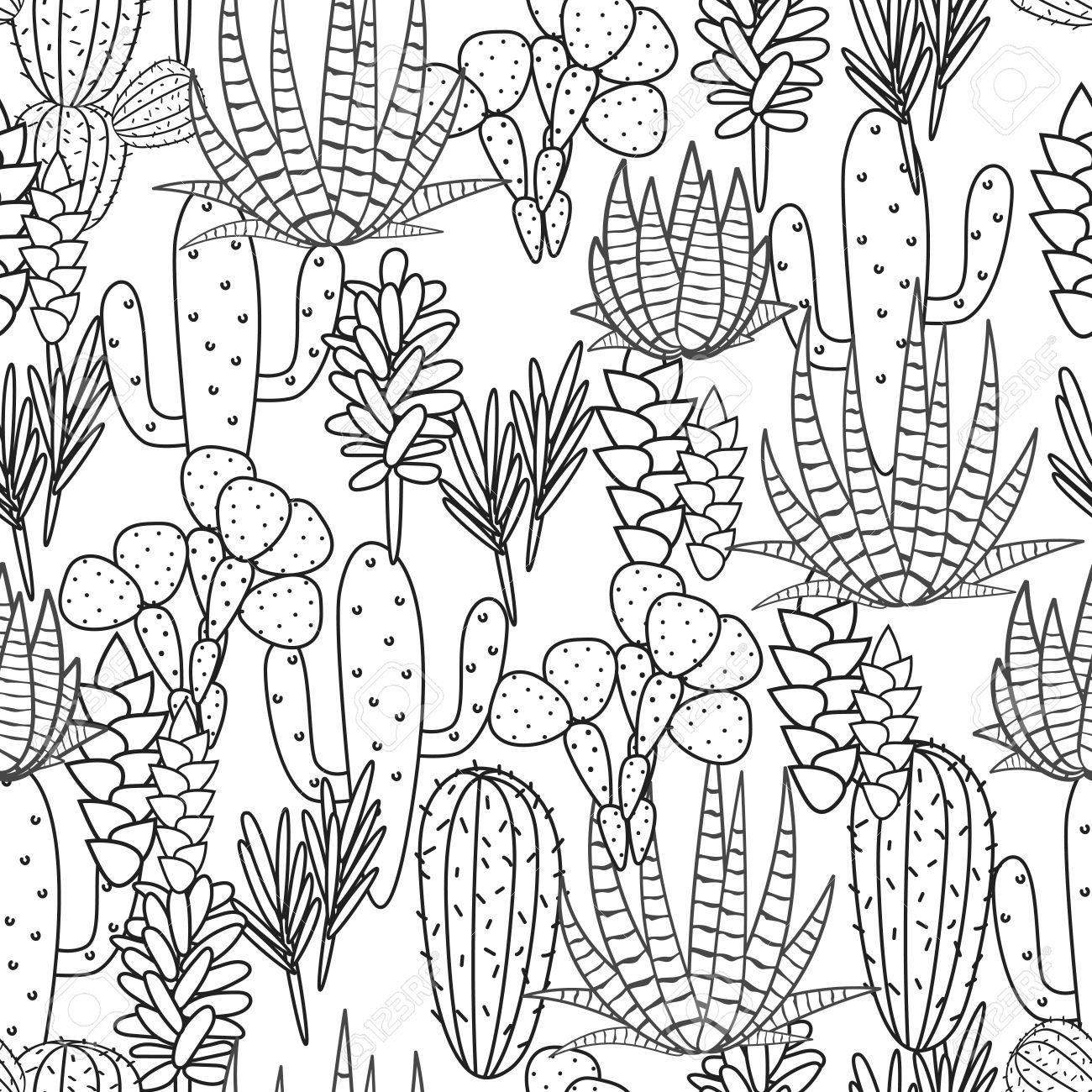 多肉植物サボテン植物ベクターのシームレスなパターン 植物の黒と白の