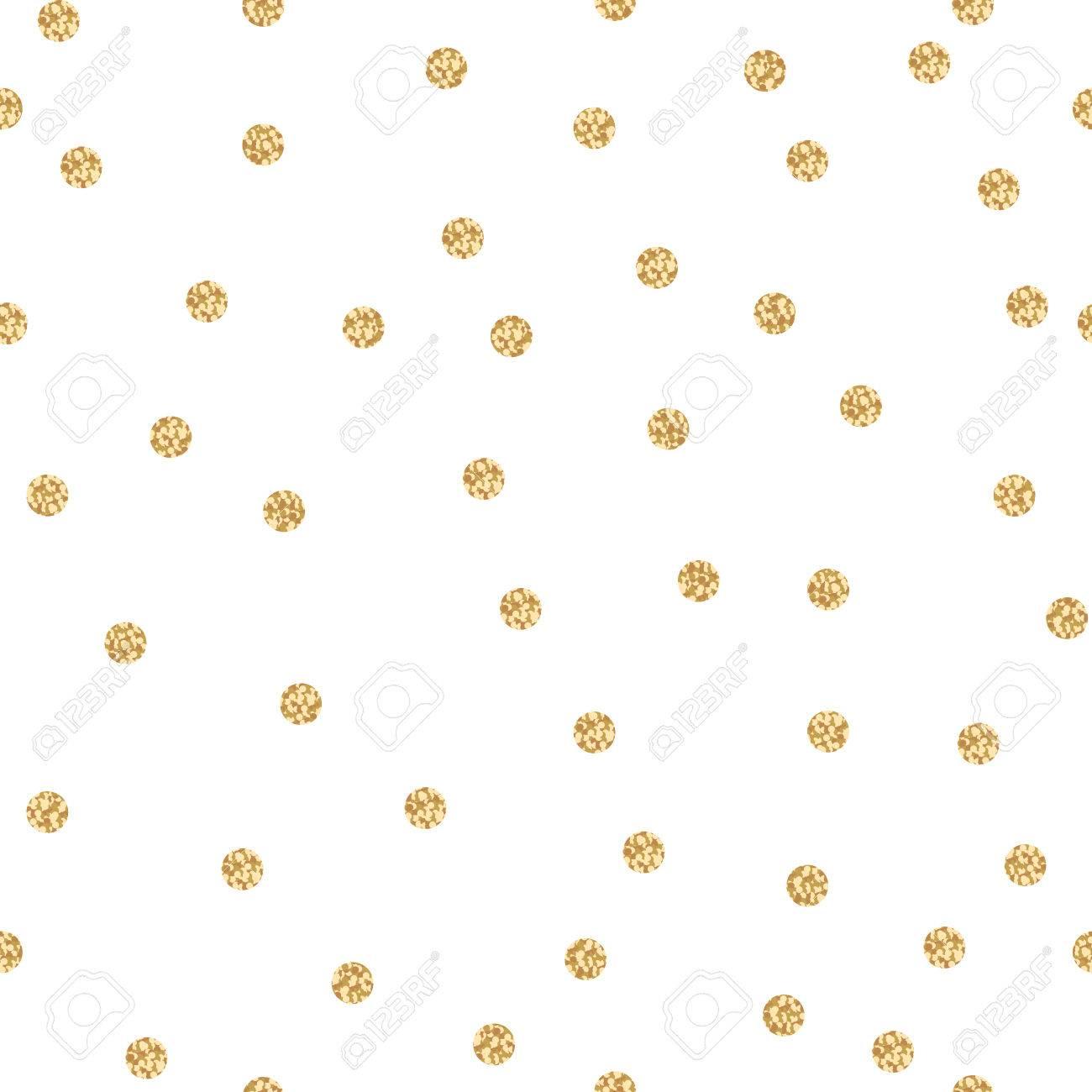 Goldschimmer Glitter Polkapunkt Nahtlose Muster. Vector Folie ...