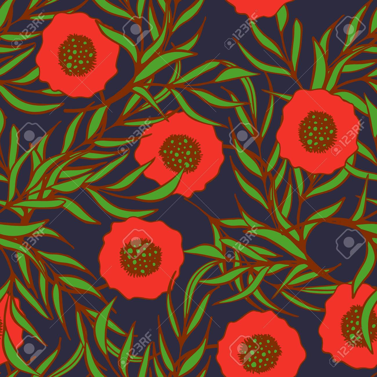 Poppy Flower Vector Seamless Pattern Hand Drawn Doodle Ink Floral