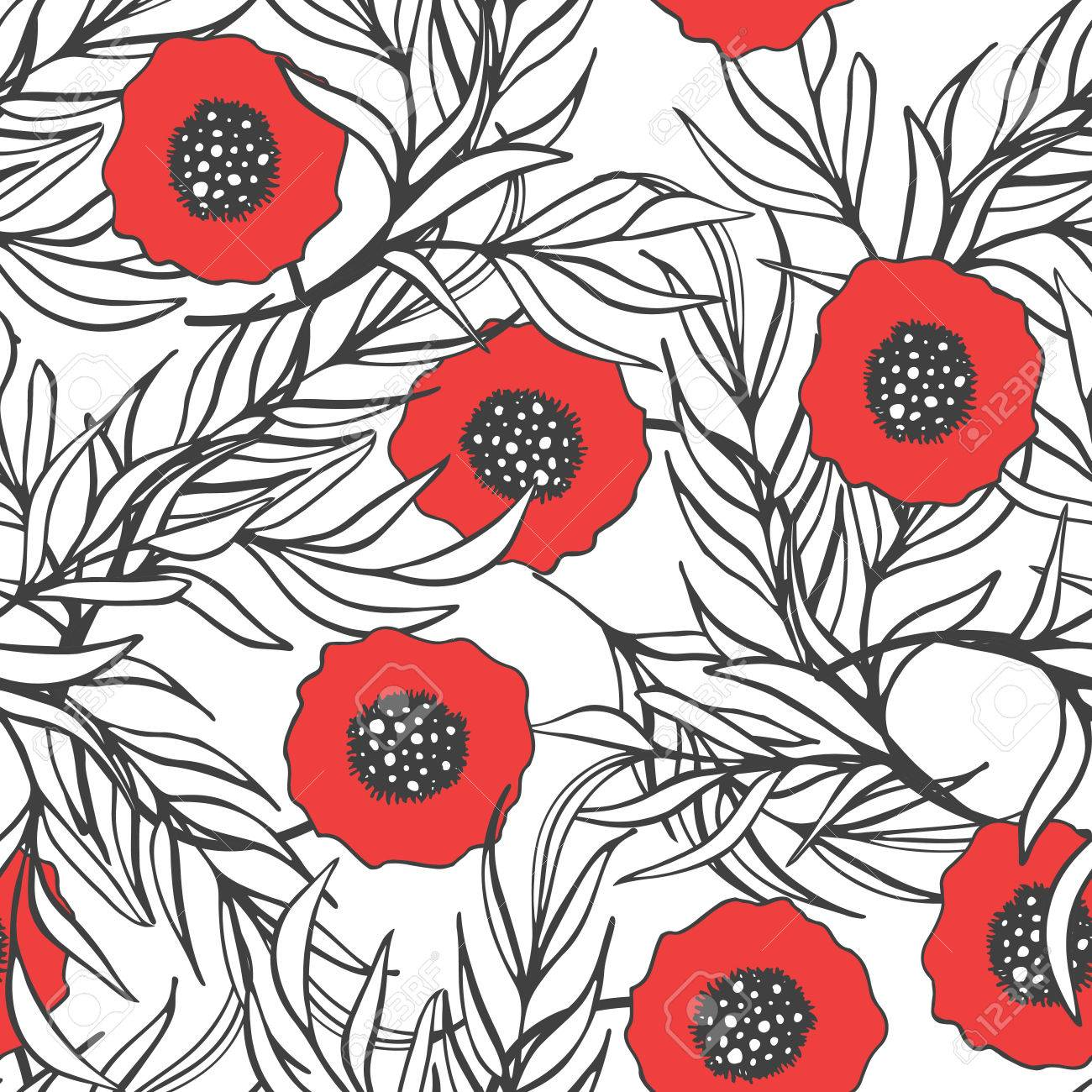 Poppy Flower Vector Seamless Pattern. Hand Drawn Doodle Ink Floral ...