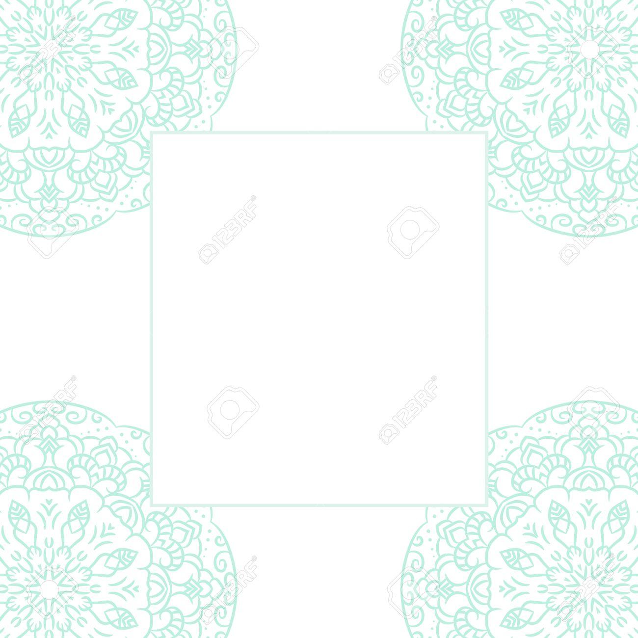 Baby Blue Mandala Card Template Background Wedding Invitation