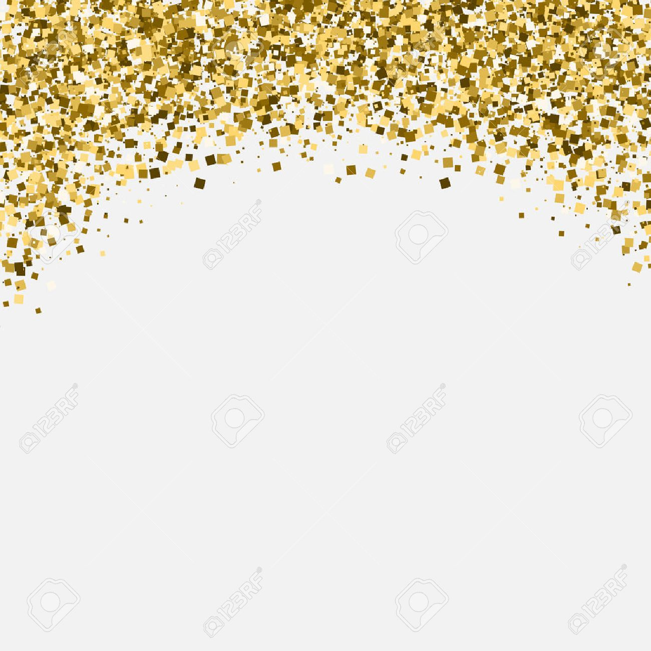 Gold glitter shimmery heading. Invitation card or flyer with sparkling top on white background. - 50012147