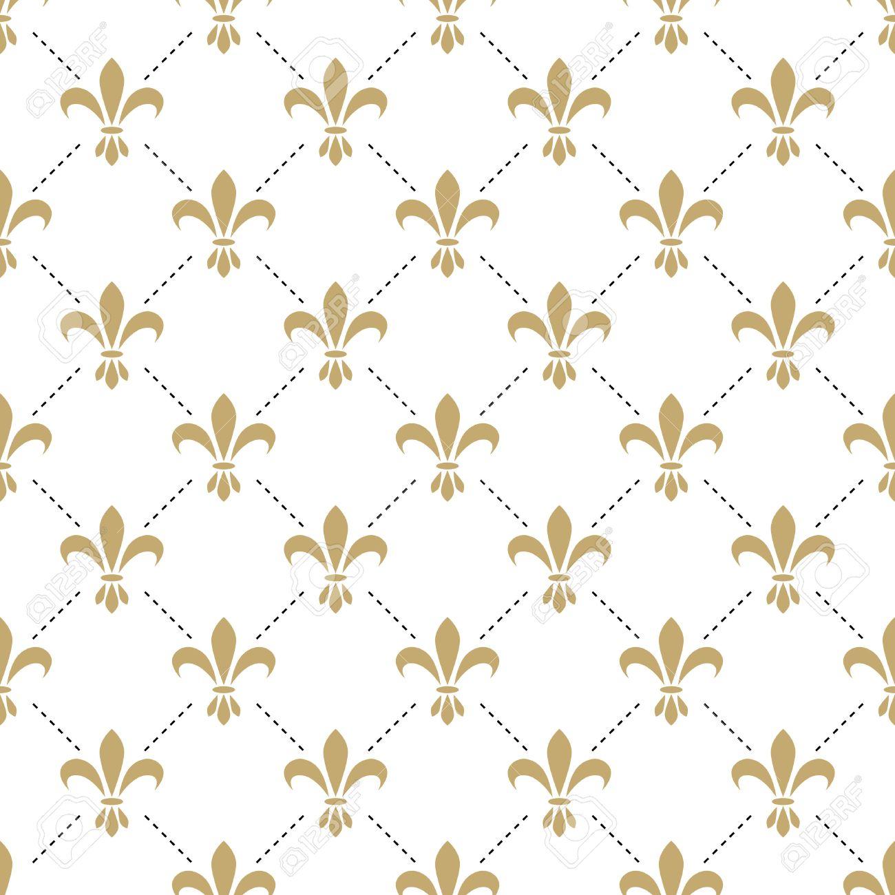 Fleur De Lis Seamless Vector Pattern Francais Vintage Fleur De Lys