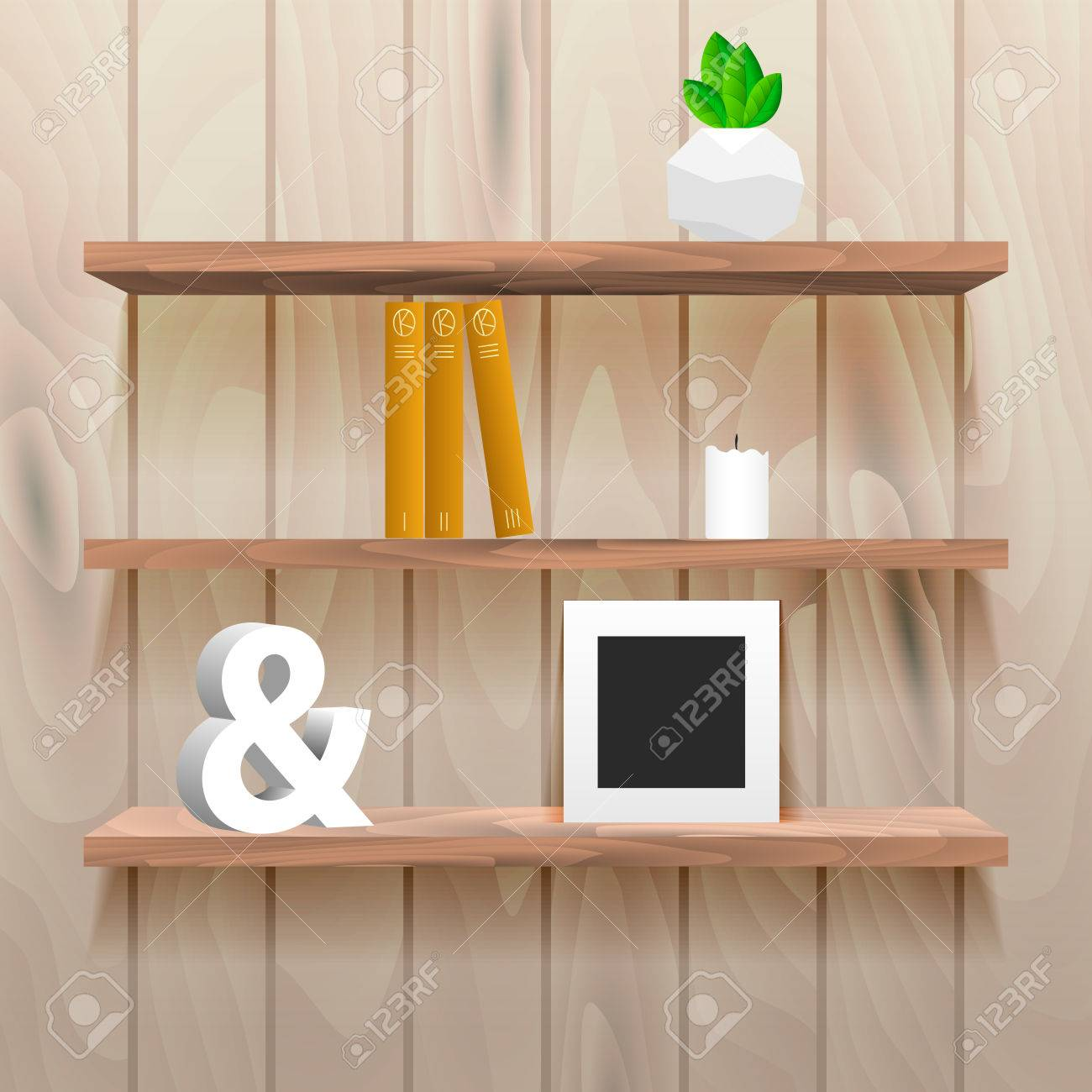 Interior wooden shelves free vector - Book Shelves In Room Interior With Decor Realistic Natural Wood Wall With Storage For Decor