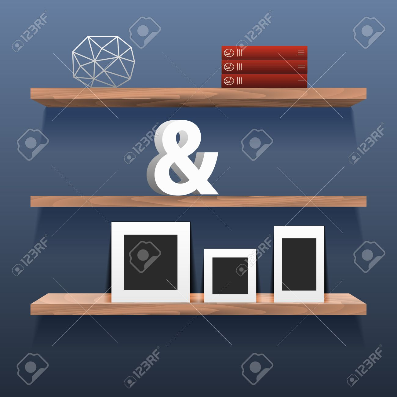Interior wooden shelves free vector - Book Shelves In Room Interior With Decor Blue Wall With Wood Storage For Decor