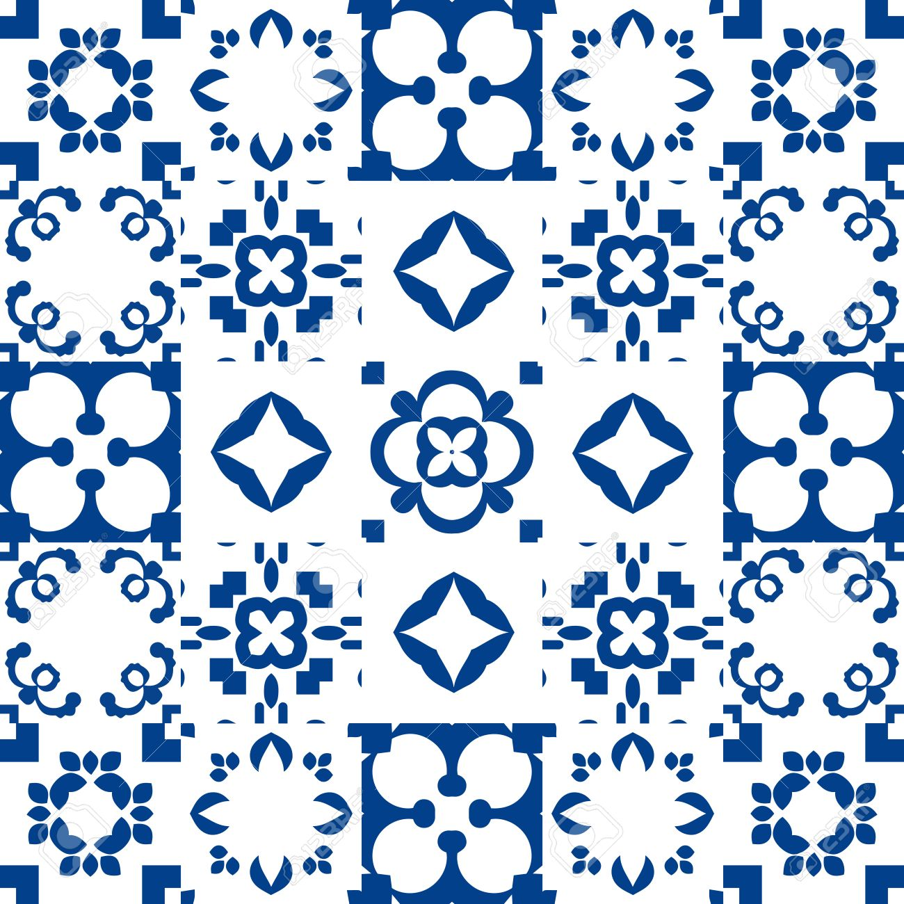 Blue And White Portuguese Azulejos Ceramic Tiles. Patchwork Pattern ...