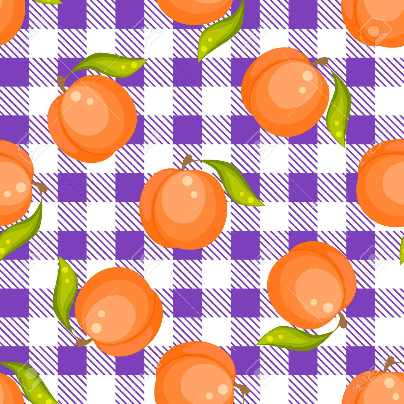 Tartan Plaid With Peaches Seamless Pattern. Kitchen Purple Checkered  Tablecloth Fabric Background. Stock Vector