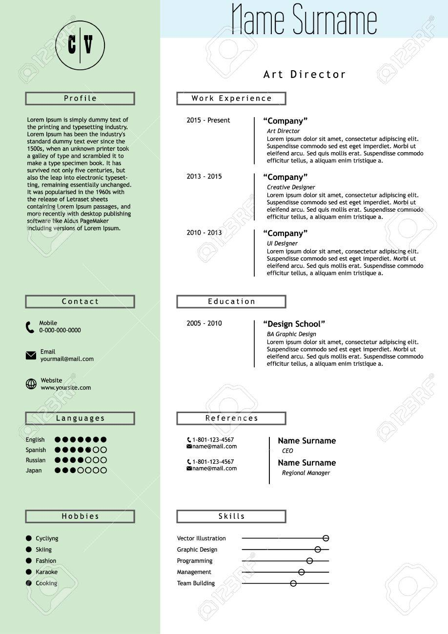 Creative Resume Template Minimalistic Green Mint And White Style