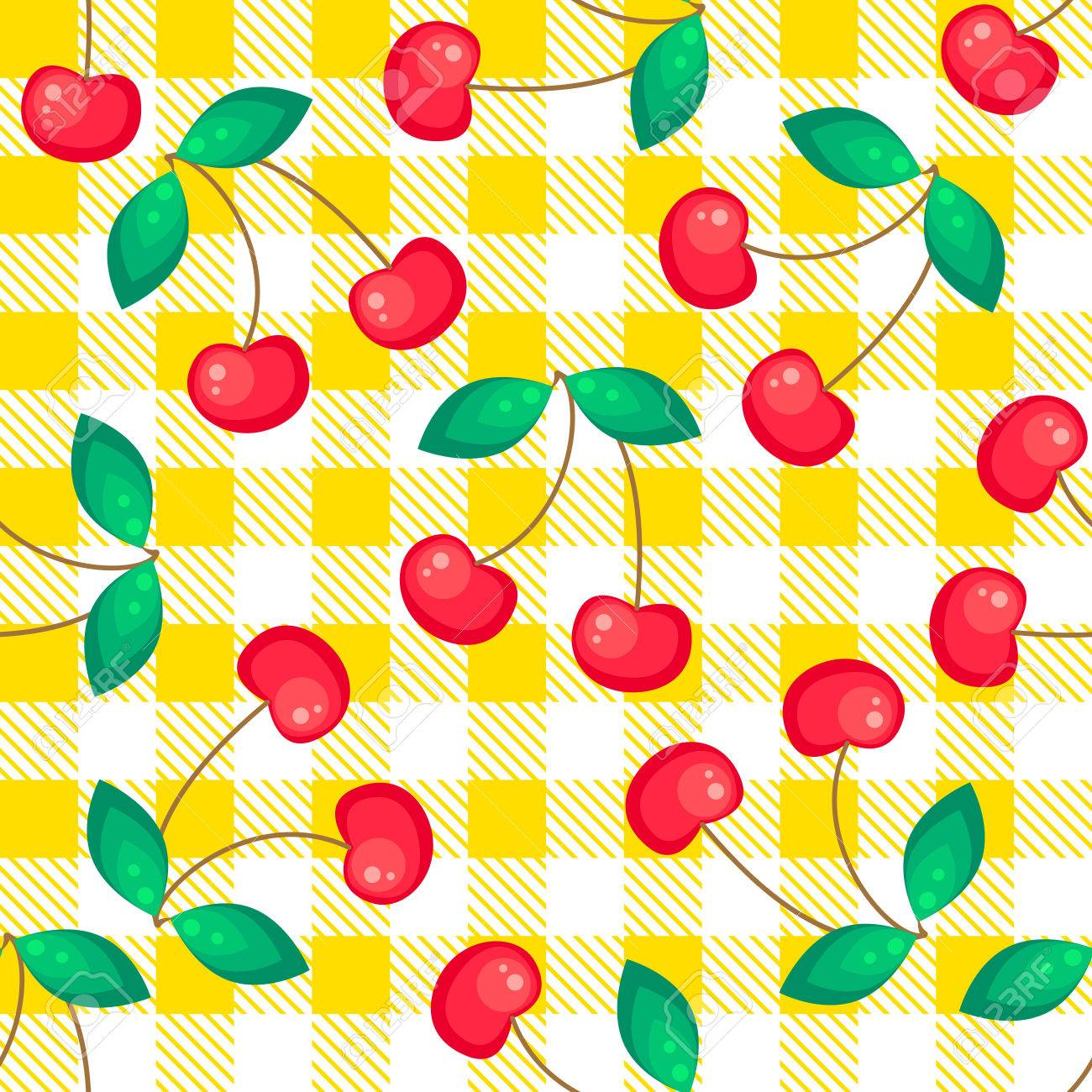 Tartan Plaid With Cherries Seamless Pattern. Kitchen Yellow Checkered  Tablecloth Fabric Background. Stock Vector