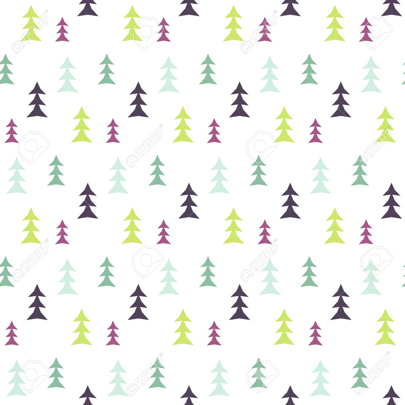 Fabric tree pattern - Abstract Multicolor Pine Forest Seamless Pattern Vector Tree Background Textile Fabric Print Scandinavian Simple