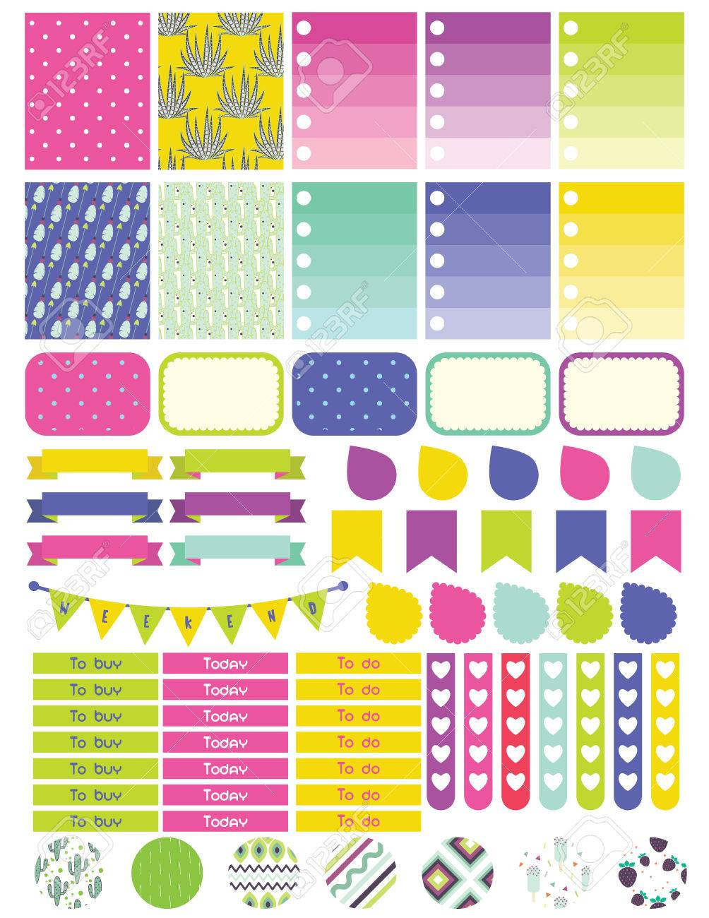 Stickers and label tags colorful set planner stickers to do list card notes