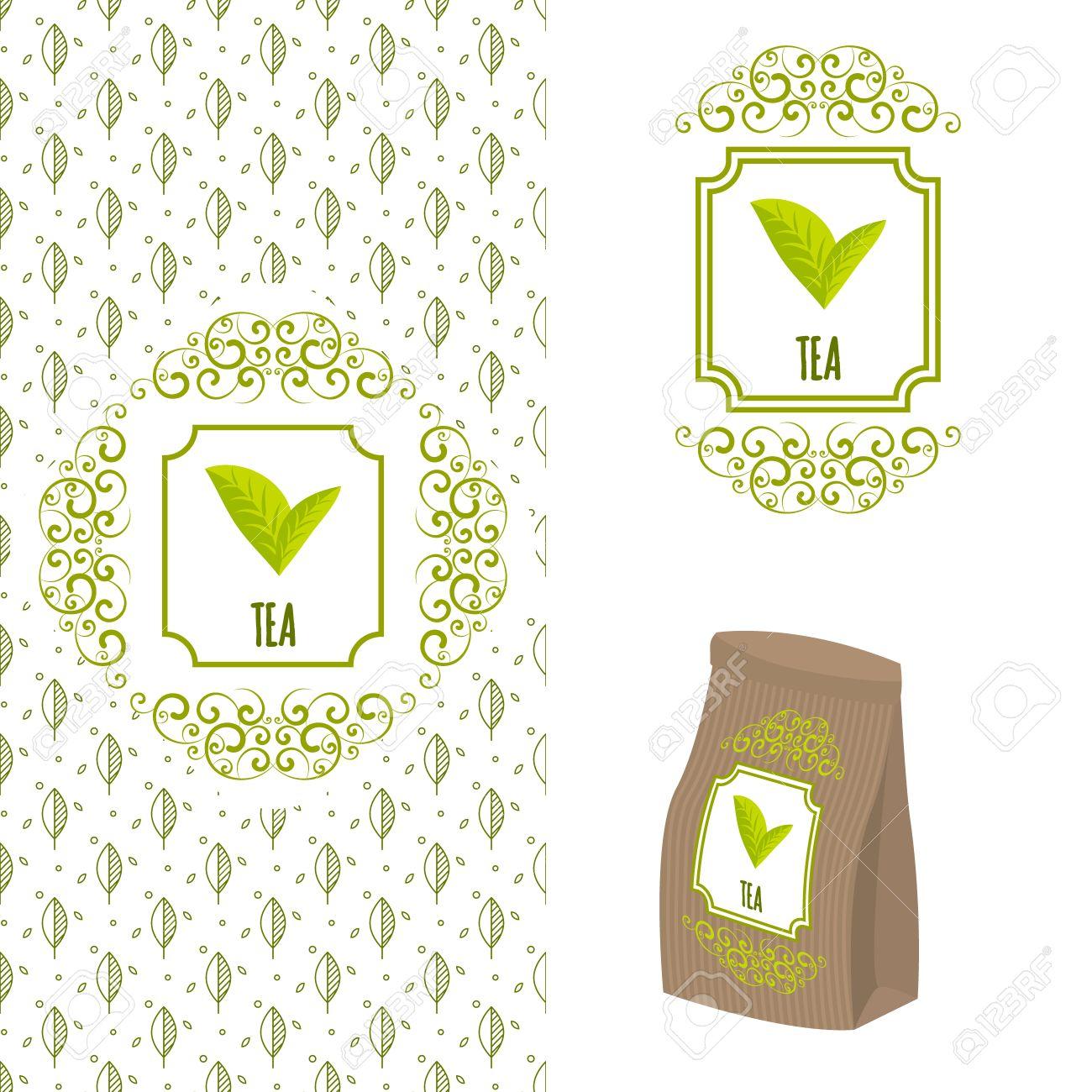 Coffee organic tea - Green Tea Branding Concept Packaging Ornate Template For Organic Tea And Green Coffee Eco