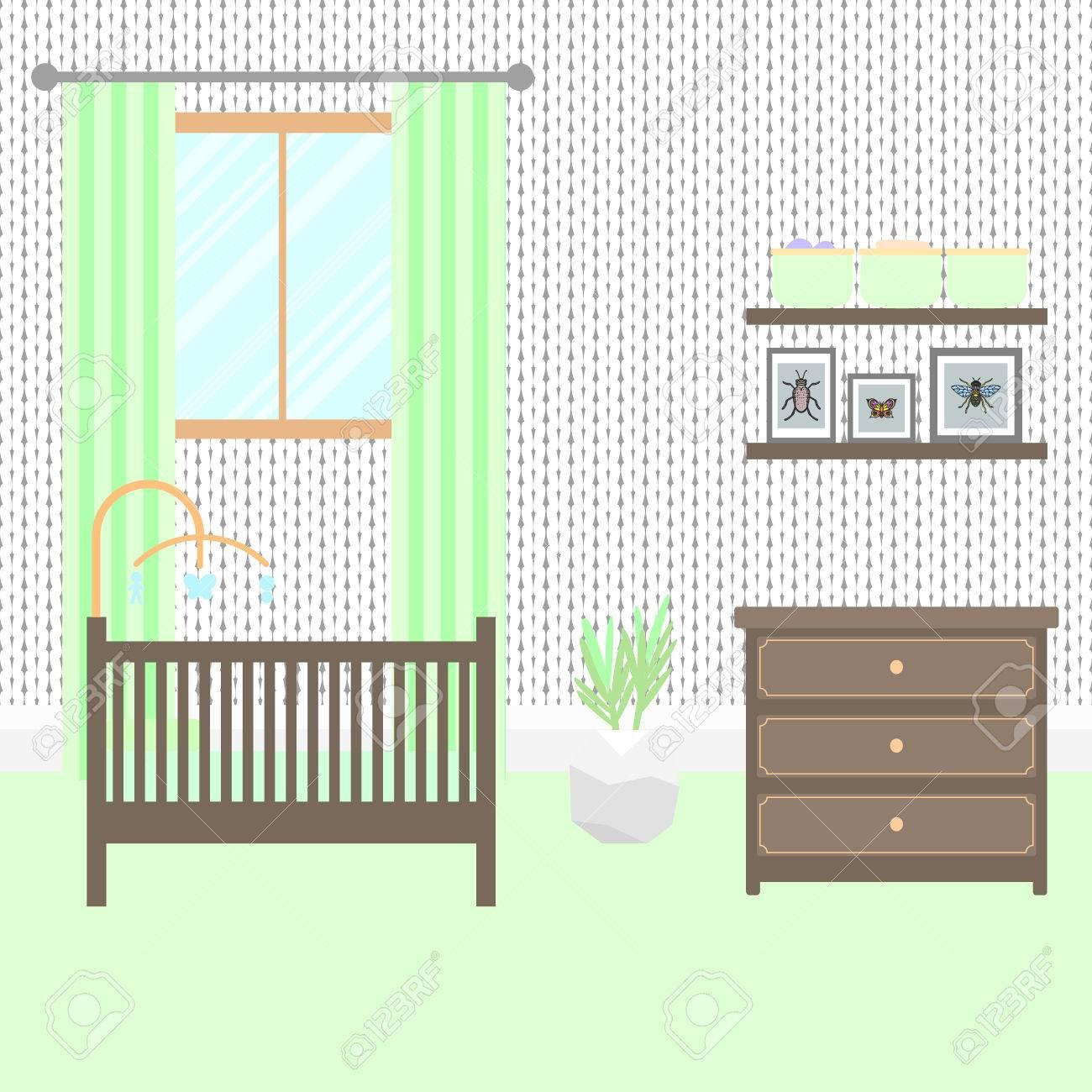 Chambre de bébé avec des meubles brun. Bébé intérieur vert. Boy design de  la chambre avec lit, lit mobile, commode et étagères de rangement. ...