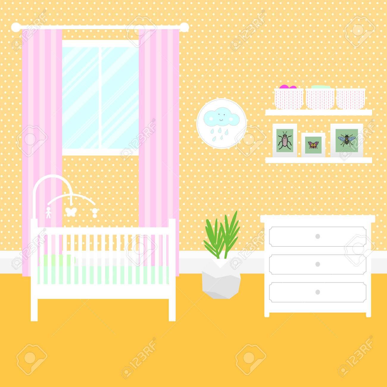 Kinderzimmer Mit Weißen Möbeln Baby Gelb Innenraum Mädchen