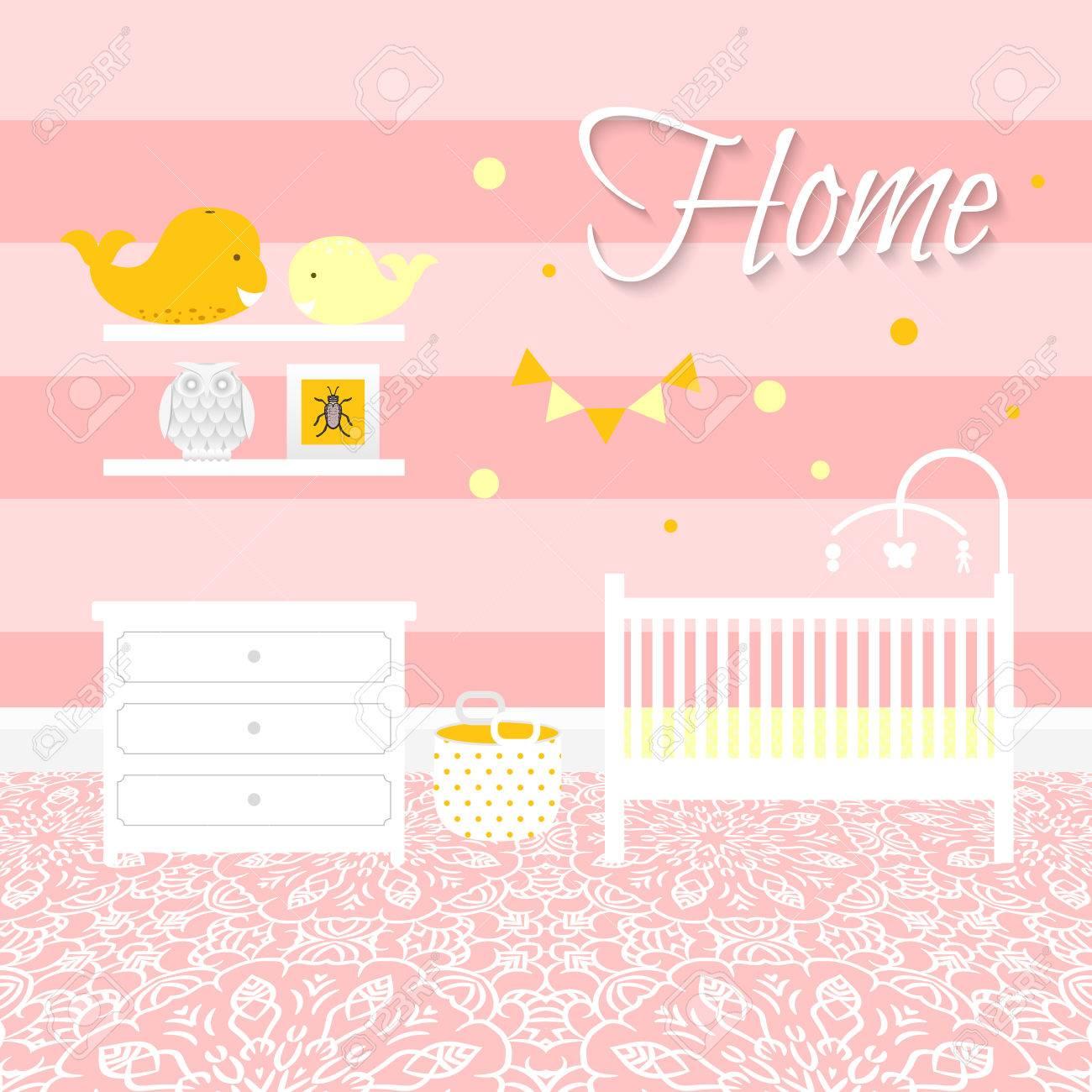 Kinderzimmer Mit Weißen Möbeln. Baby Rosa Streifen Innenraum. Mädchen  Raumgestaltung Mit Bett,