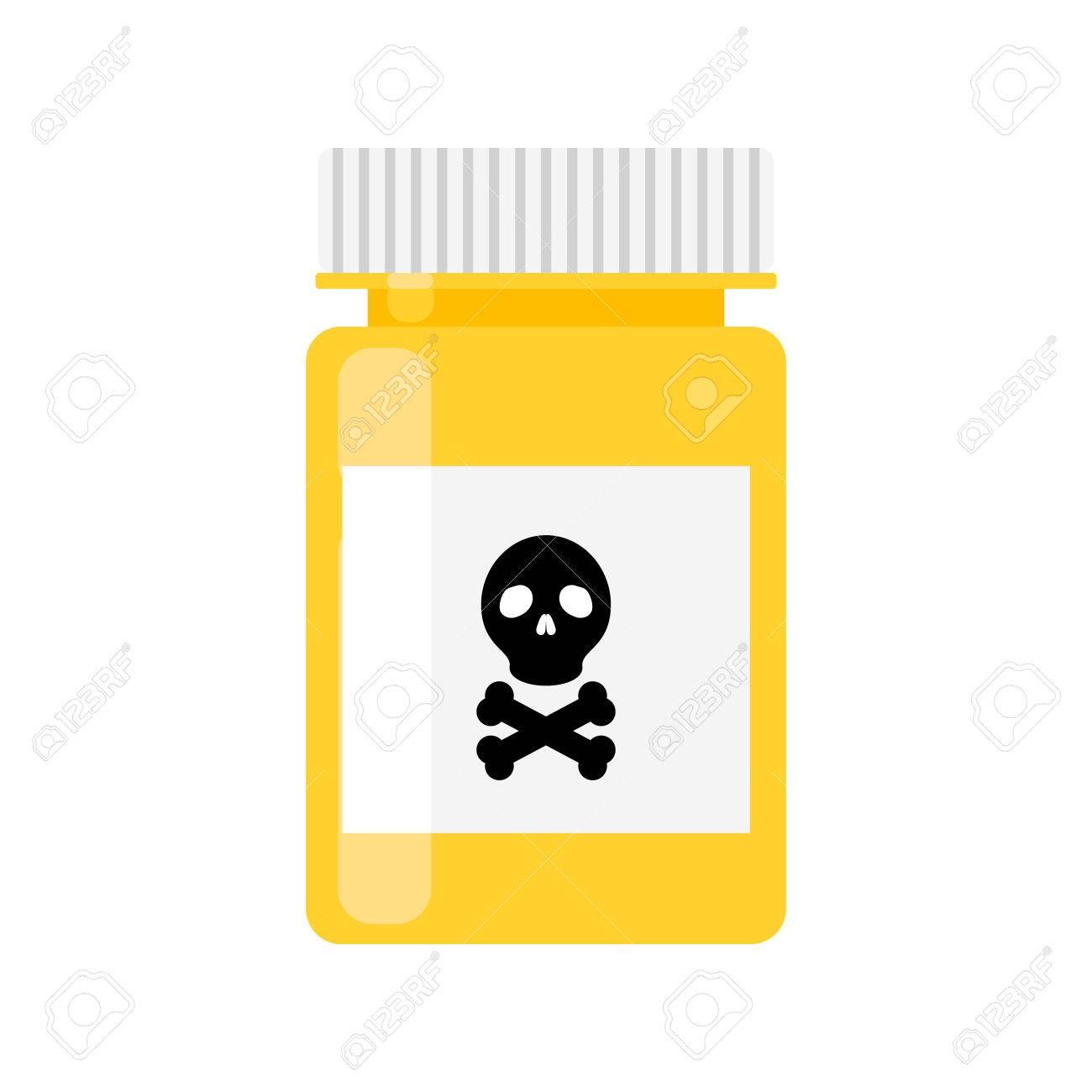 Gift-Apotheke Flasche Vektor-Symbol. Isolierte Droge Gelbe Flasche ...