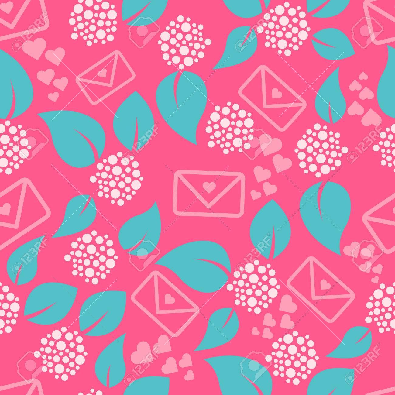Romantische Briefe Und Blumen Stieg Nahtlose Muster Blätter