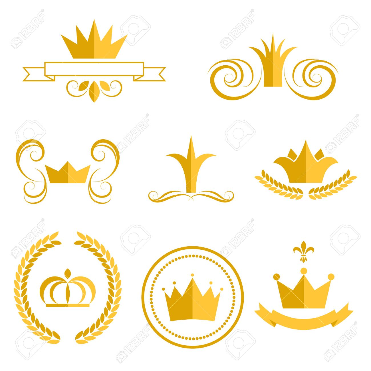 gold crown logos and badges clip art vector set king or queen rh 123rf com clip art princess crowns queen crowns clipart