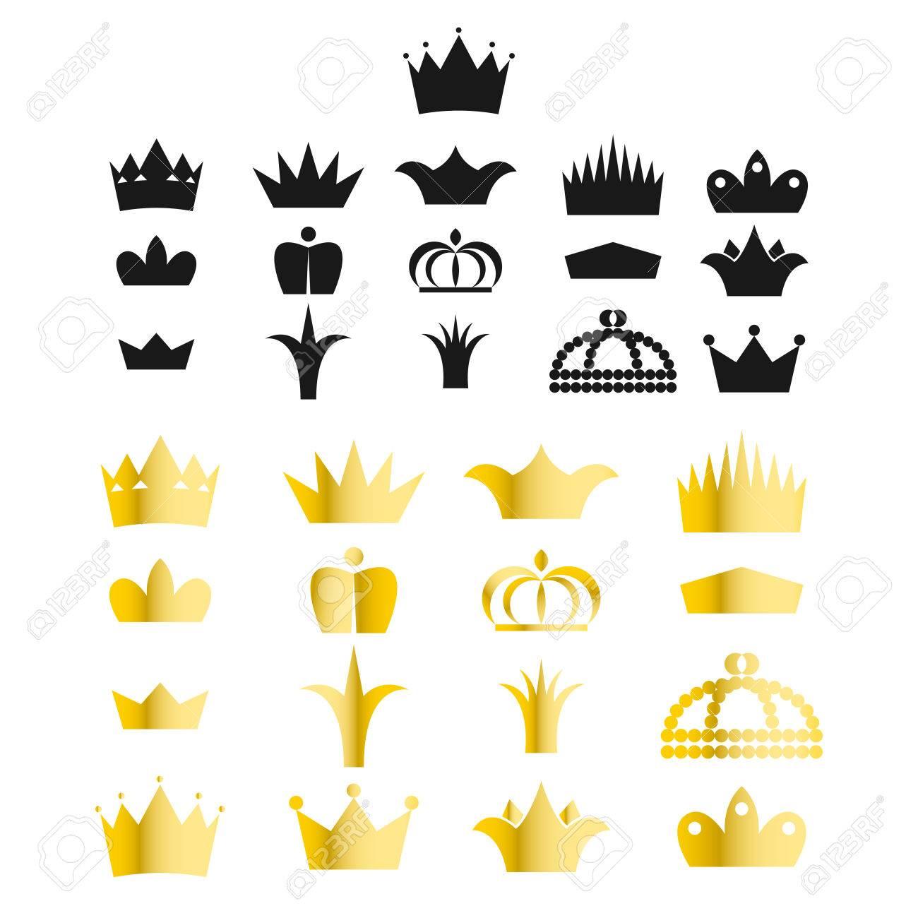 Gold Crown Clip Art Vector Set King Or Queen Crowns Gradient