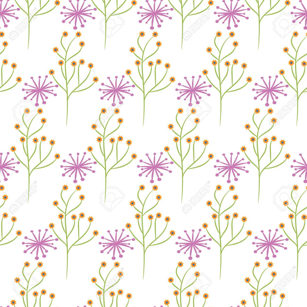 Wild Flower Spring Pink And Green Field Seamless Pattern Floral