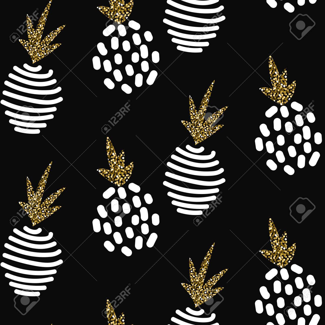 Glitter scandinavian striped pineapple ornament. Vector black gold seamless pattern collection. Modern shimmer details stylish texture. - 55365693